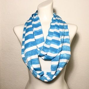 Ocean Blue & White Striped Jersey Infinity Scarf